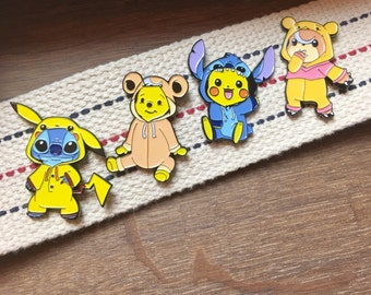 Enamel Pins Mashup  - Pikachu, Stitch, Teddiursa, and Winnie the Pooh set of 4 Lapel Enamel Pins - Soft Enamel Hat Pin- Enamel Lapel Pin