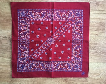 Vintage Blood Red, Spruce Blue and White Bandana
