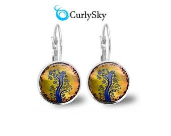 Fantasy Tree Earrings Michigan Colors Yellow and Blue Earrings Yellow Tree Earrings Michigan State Earrings Blue Yellow Fantasy Earrings