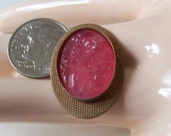 Vintage Carved Pink Glass In Brass Setting
