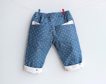 LITTLE STARS Pants Jeans Boy Girl sewing pattern Pdf, Fully Lined, children Baby pants, Toddler pants, newborn up to 6 years
