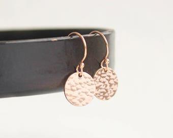 Tiny Rose Gold Earrings, Drop Earrings, Rose Gold Filled Hammered Earrings, Everyday Dainty Earrings, Round Disc Earrings