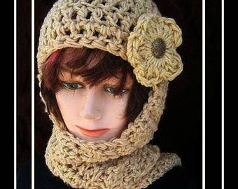 CROCHET hat PATTERN- Hat & scarf, hat crochet pattern,  Hood, hoodie, scoodie, women, teens, instant download, crochet pattern hat # 113