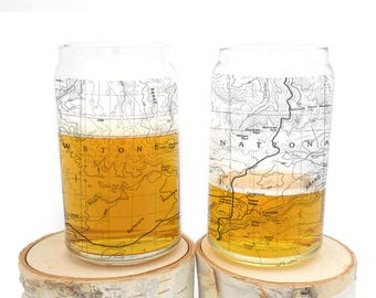 Can Glass Set - Yellowstone National Park Topographic Map - Set of Two Screen Printed 16oz can glasses