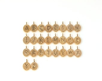 """JS01113/5Pcs-Round Initial """"A~Z""""/ 8mm /Gold Plated over brass,Rhodium Plated over brass"""