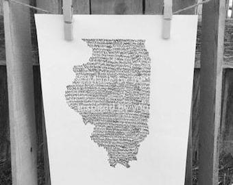 Typography Print. Handwritten. Art. State Art. Illinois Art. Illinois cities and towns. 8.5 X 11. Illinois Wall Art. Illinois Unique Gift