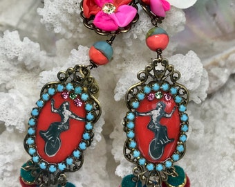 Lilygrace Red, Pink and Orange Cameo Earrings with Vintage Rhinestones and Velvet Beads