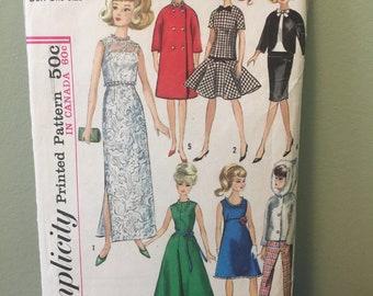 Vintage Simplicity Barbie Doll Sewing Pattern 1965