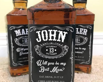 Groomsmen Proposal Label - Liquor Label - Will You Be My Groomsman - Best Man Gift - Wedding invitation labels