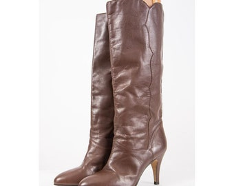 Vintage leather knee high boots / 1980s 9 West chocolate brown spike heel boot / Tall slim fit / Size 6