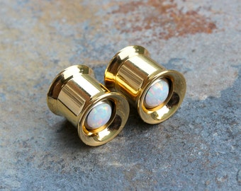 """Pair Gold Anodize Double Flare Tunnels With White Fire Opal,Internally Threaded Plugs, 0G,00G,7/16"""",1/2"""",9/16"""",5/8"""" Sold As PAIR"""