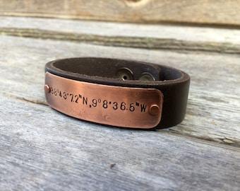 Latitude & Longitude Leather Bracelet, Lat/Long Coordinate Leather Cuff Bracelet