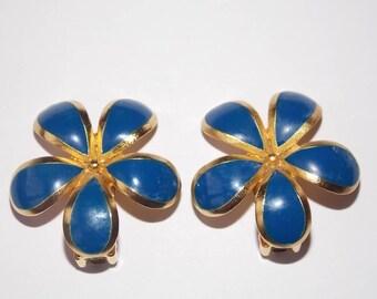 Lanvin Paris brand vintage french clip earrings cobalt