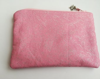 Pink Sparkle Coin Purse, Zipper Pouch, Cosmetic Bag,Girls Gift