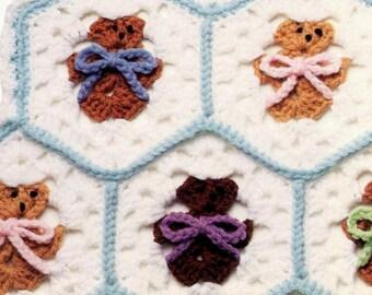Vintage Crochet Pattern Hexagon Teddy Bear Afghan Blanket Granny Square Motif Baby Kids Childs Childrens Printable PDF Instant Download