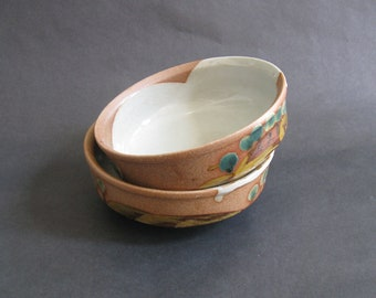 """Pair Nancy Patterson Lamb Iron Mountain """"Over The Hills"""" Stoneware Soup / Cereal Bowls - Iron Mountain Pottery, Tennessee 1970s HTF"""