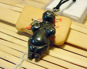Hematite Goddess / Venus Willendorf Pendant on cord, Fertility, Birth 14t512