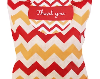 Chevron party bags red/cream/white with 60mm thank you stickers - 24 of each