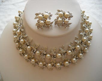 Exquisite Vintage Crystal Rhinestone Pearl Necklace Bracelet Clip Earring Parure Wedding FREE SHIPPING