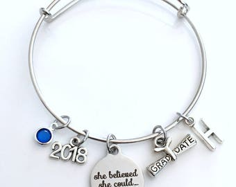 Graduation Gift for Her, Charm Bracelet High School College Grad 2018 Silver Bangle Jewelry She believed she could so she did 2019 2017 her