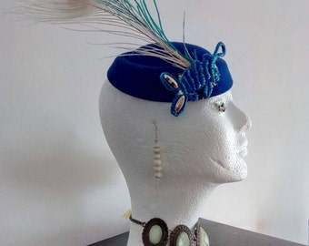 Headdress, blue, applique, feathered, choker, wedding, party