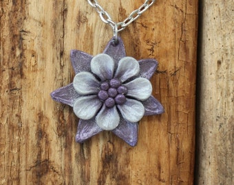 Whimsical Flower Pendant Necklace - Purple and Silver Layered Petals