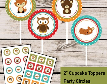 Woodland Party Cupcake Toppers Party Circles - INSTANT DOWNLOAD - DIY Digital Printable File, Forest Creatures