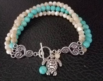 Turtles and Turquoise Three Strands Bracelet