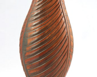 Handmade Ceramic Cocoon Vase, Oval Pottery Vase, Thrown and Altered, Hand Carved, Red Glaze