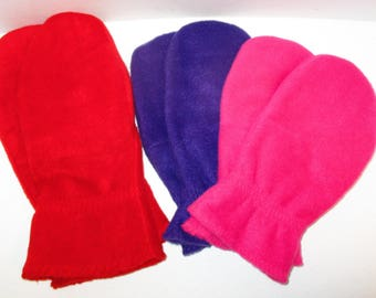 Handmade Solid Color Fleece Mittens ADULT Ladies S, M, L/XL  Mens S, M, L/XL