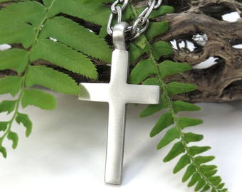 Men's Cross Necklace - Big Simple Cross Pendant with Bulky Stainless Steel Figaro Chain