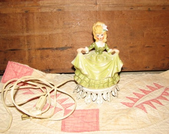 VTG 1950s Aladdin Giftware porcelain figurine lamp boudoir night light