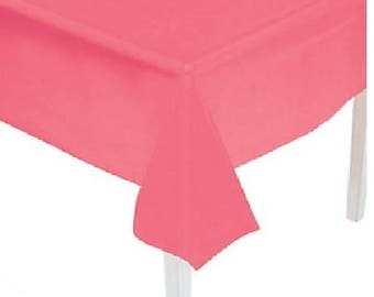 """Table Cover Coral  54"""" x 108"""" Plastic Rectangle Table Cover Other Colors Available Too ~ Party Decorations Tableware"""