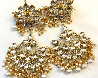 Jhumka Earrings,Indian Kundan Jhumka,Bollywood Jewelry, Gold Jhumki, Polki Earrings, Layered Jhumka, Pakistani Jhumkas, Jhumki Earrings USA