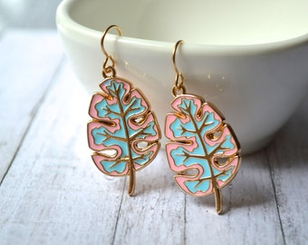 Tropical pink and turquoise leaf earrings, Earrings, Leaf earrings, Metal earrings, Tropical Earrings, Summer Earrings, Bohemian Under 20.
