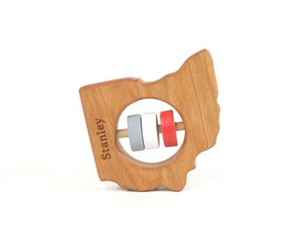 Ohio State Baby Rattle™ - Modern Wooden Baby Toy - Organic and Natural