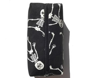 GLOW in the DARK skeleton pencil pouch