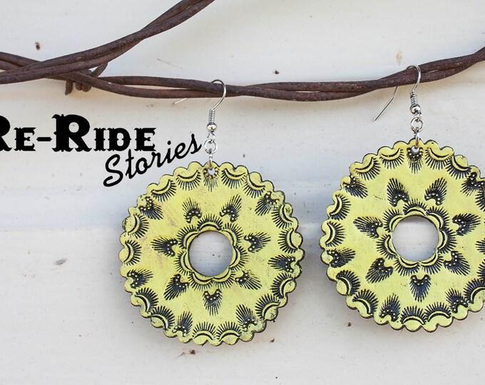 Featured listing image: Tooled Leather Earrings- Yellow Mandala
