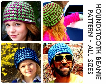 CROCHET HAT PATTERNS - Houndstooth Beanie - Adults & Kids Sizes