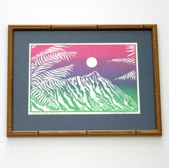 Vintage Hawaiian Diamond Head Silkscreen Print, Signed in Bamboo Frame, Silk Screen Screenprint Kiefe / Tepper