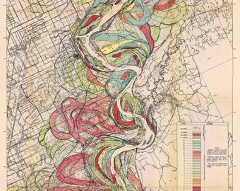 Map showing the Ancient Courses of the Mississippi River Meander Belt Sheet 4 geological survey map vintage reproduction 1943