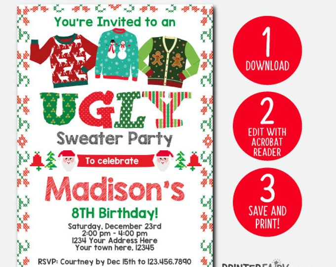 EDITABLE, Ugly Sweater Birthday Invitation, Holiday Party Invitation, Christmas Party, Christmas Invitation, Instant Download, DIGITAL