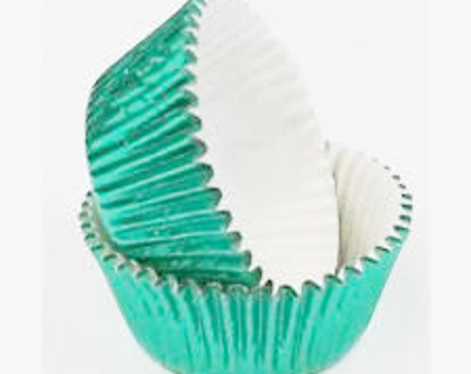 50 Light Green Foil Cupcake Liners, Baking Cups, Greaseproof, Professional Grade