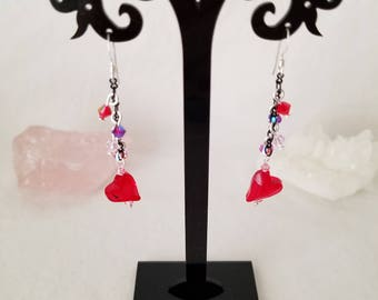Red Heart Made With Swarovski And Bi-cone Crystal Sterling Silver Dangle Earrings