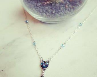 Long custom aqua blue druzy crystal necklace. Dainty, feminine,boho faceted glass crystal boho style gift for her  Ready to ship