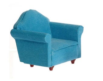 Dollhouse Miniature Blue Chair 1:12 Scale