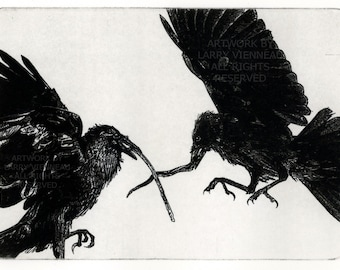Raven artwork , Raven, crow, etching , 5 inch x 7 inch 2011