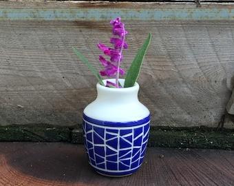 pottery bud vase, stoneware bud vase, blue bud vase, handmade bud vase