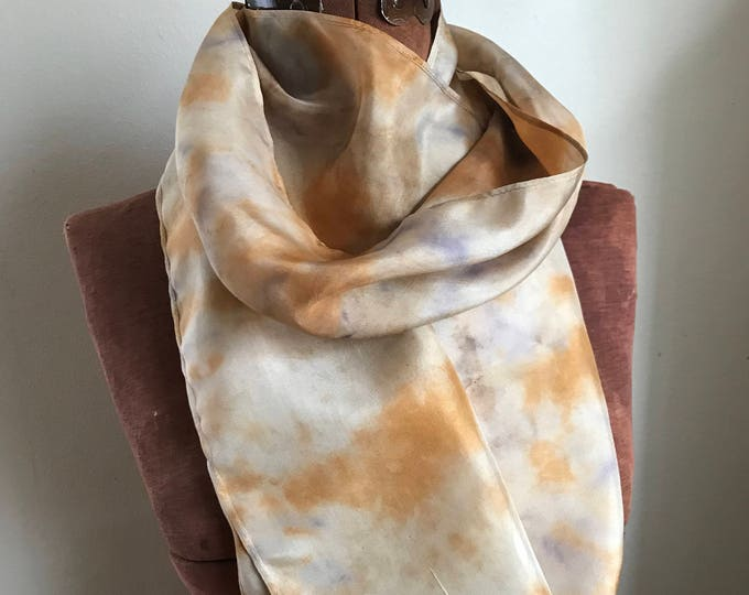 Elderberry and onion skin dyed  silk scarf, naturally dyed scarf