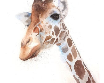 Giraffe print animal print giraffe painting giraffe decor zoo animals watercolor giraffe art giraffe lover gift giraffe wall art